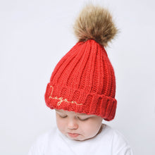 Load image into Gallery viewer, Red Embroidered Faux Fur Pom Pom Hat