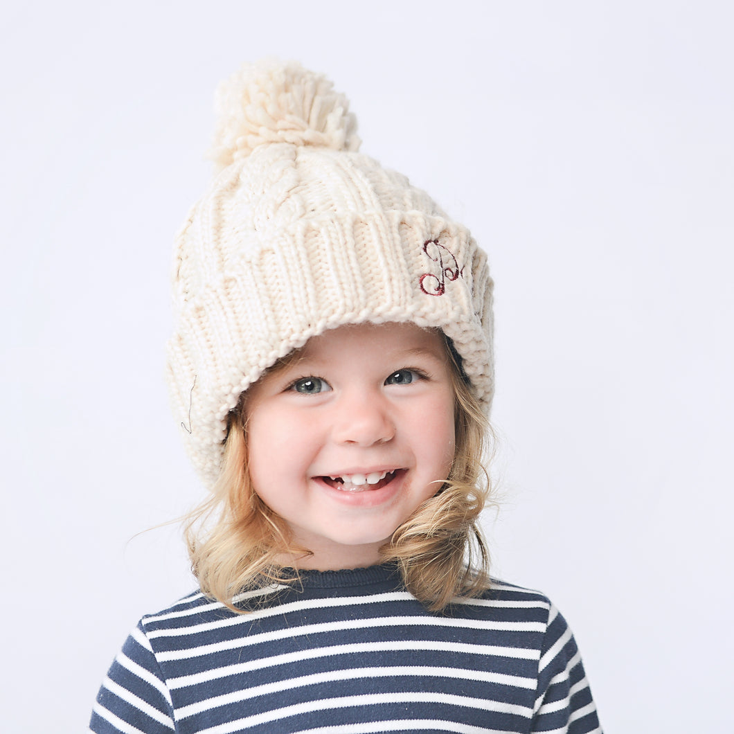 Oatmeal Embroidered Cable Knit Pom Hat