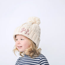 Load image into Gallery viewer, Oatmeal Embroidered Cable Knit Pom Hat