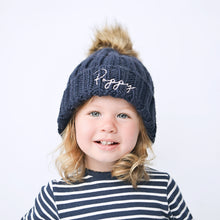 Load image into Gallery viewer, Navy Embroidered Faux Fur Pom Pom Hat