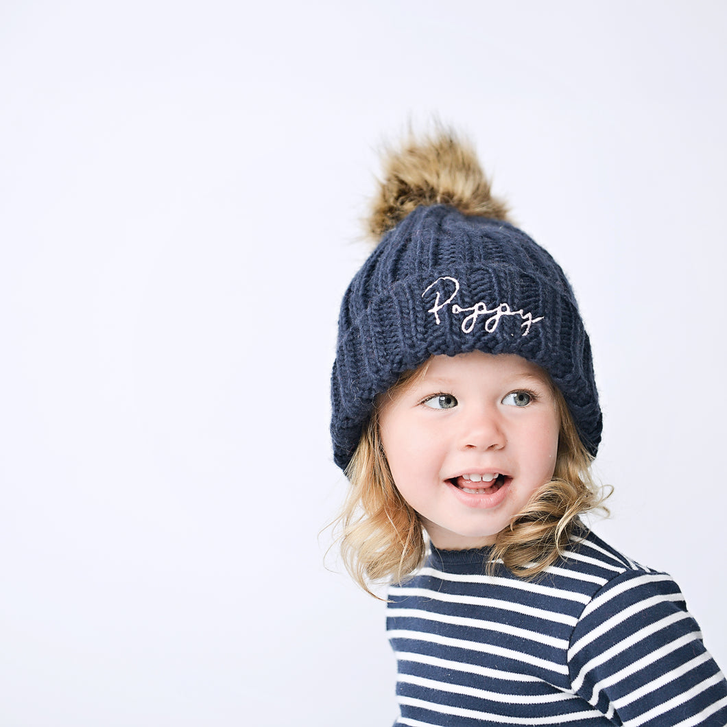 Navy Embroidered Faux Fur Pom Pom Hat