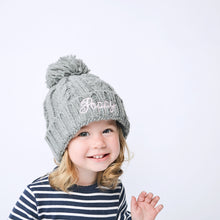 Load image into Gallery viewer, Grey Embroidered Cable Knit Pom Hat