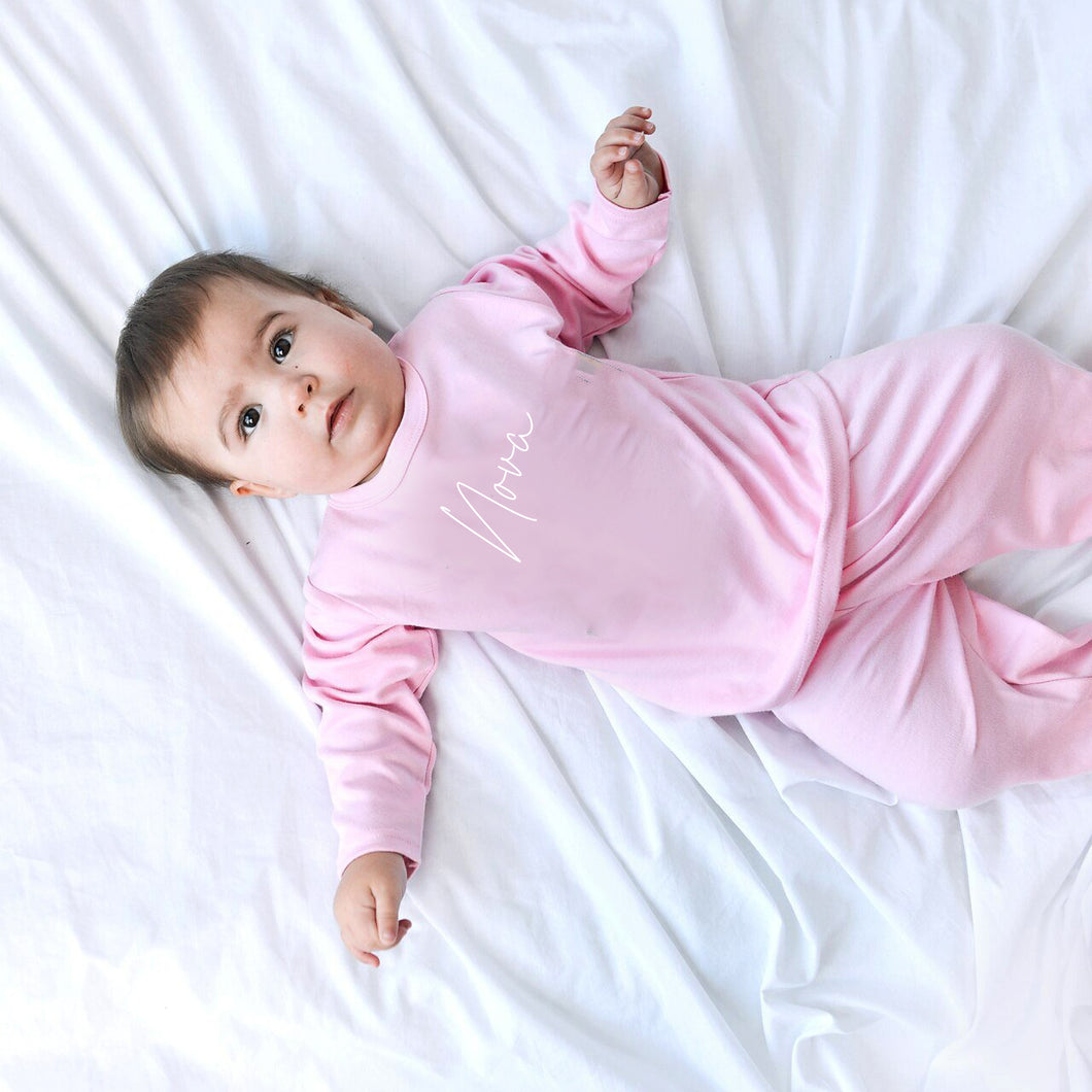Tiffany Embroidered Pink Baby Pyjamas