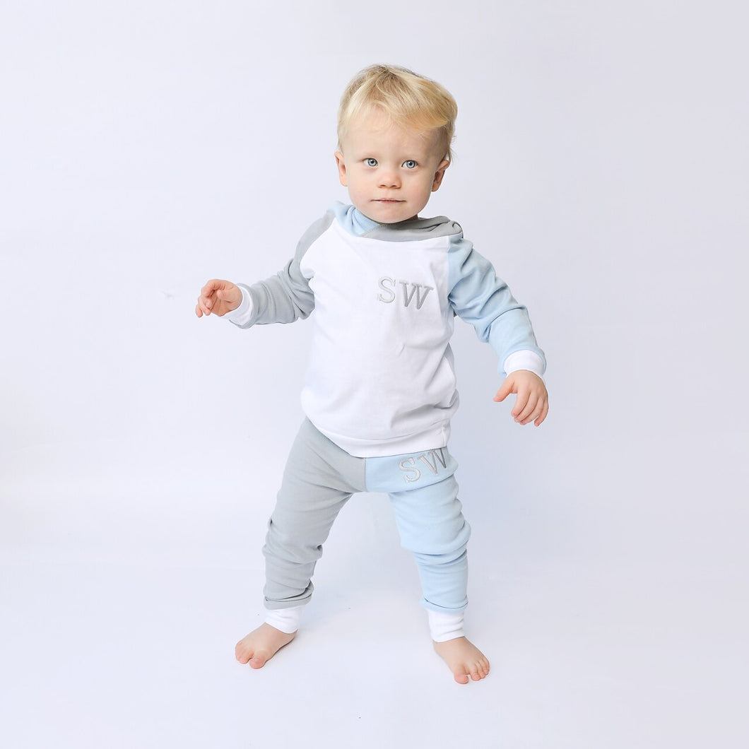 White, Baby Blue & Dove Mix & Match Hooded Top Lounge Set (Made to Order)