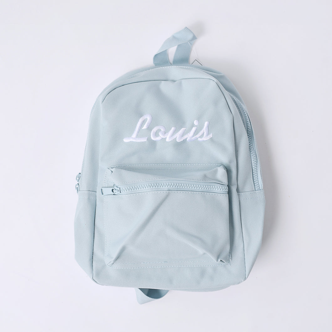 Powder Blue Embroidered Mini Essentials Backpack