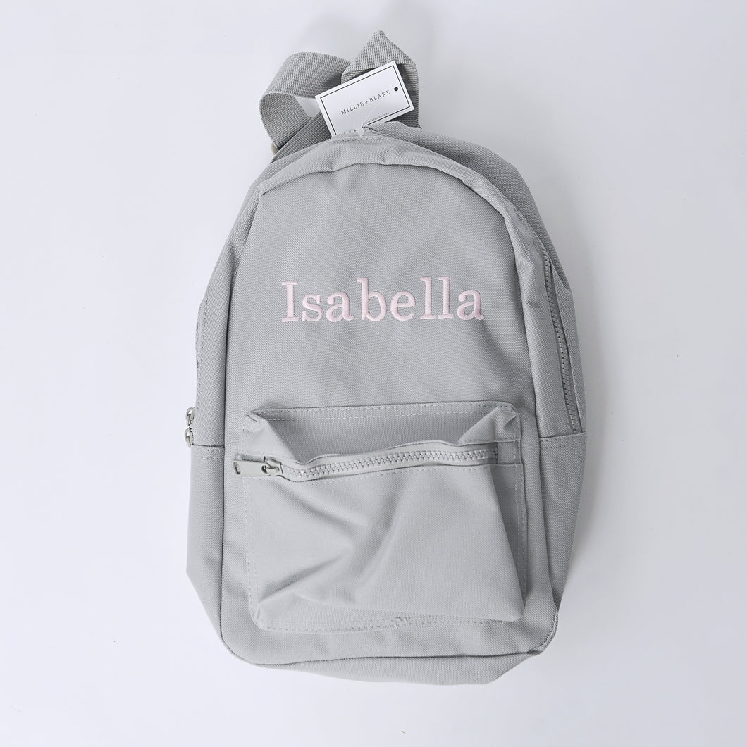 Grey Embroidered Mini Essentials Backpack