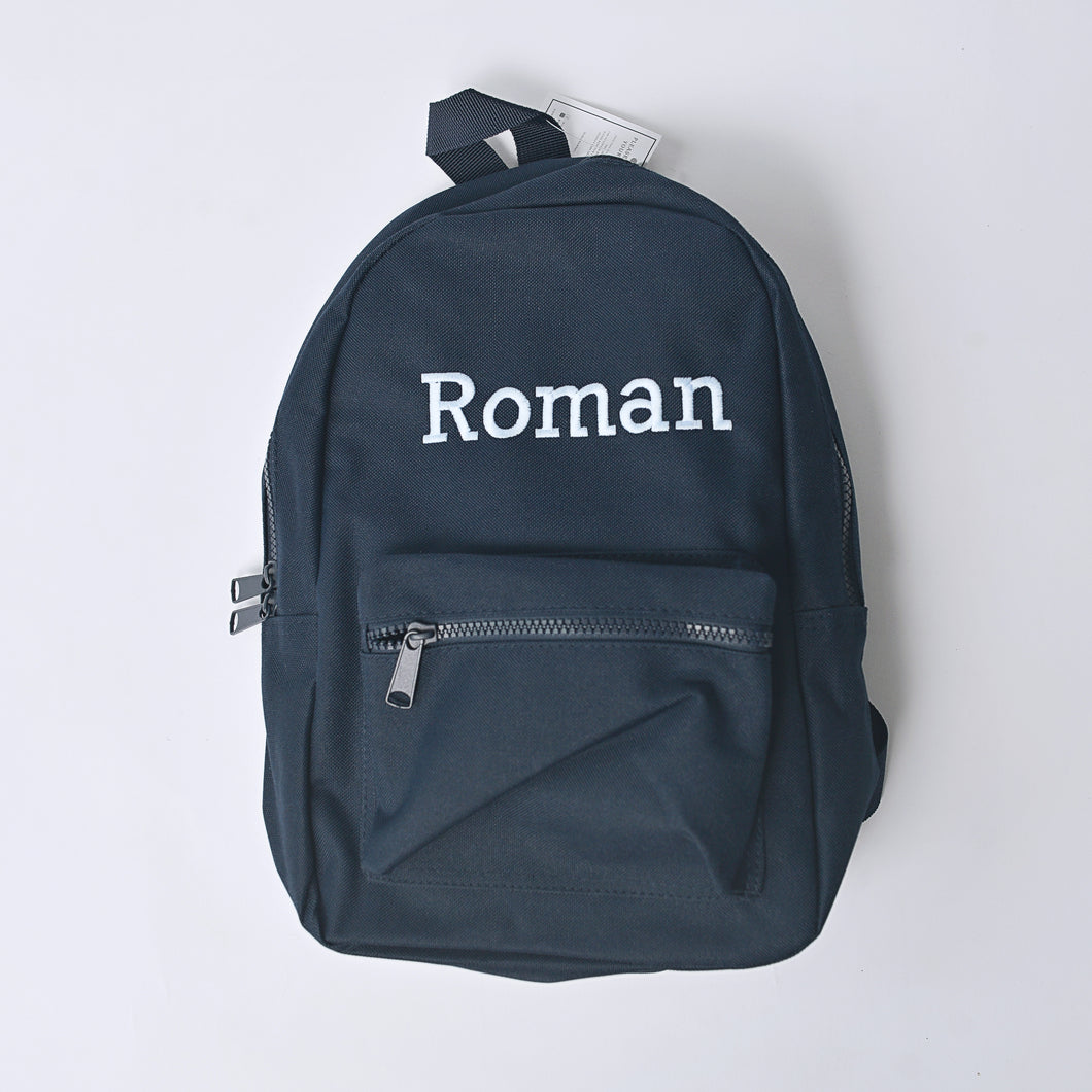 Navy Embroidered Mini Essentials Backpack