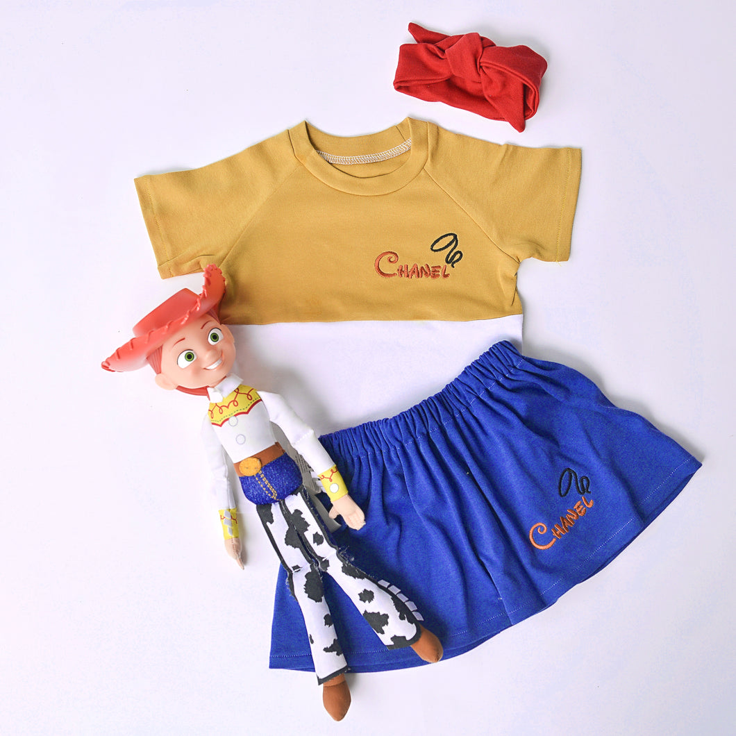 Cowgirl Character Short Sleeve T-shirt & Skirt Lounge Set (Made to Order)
