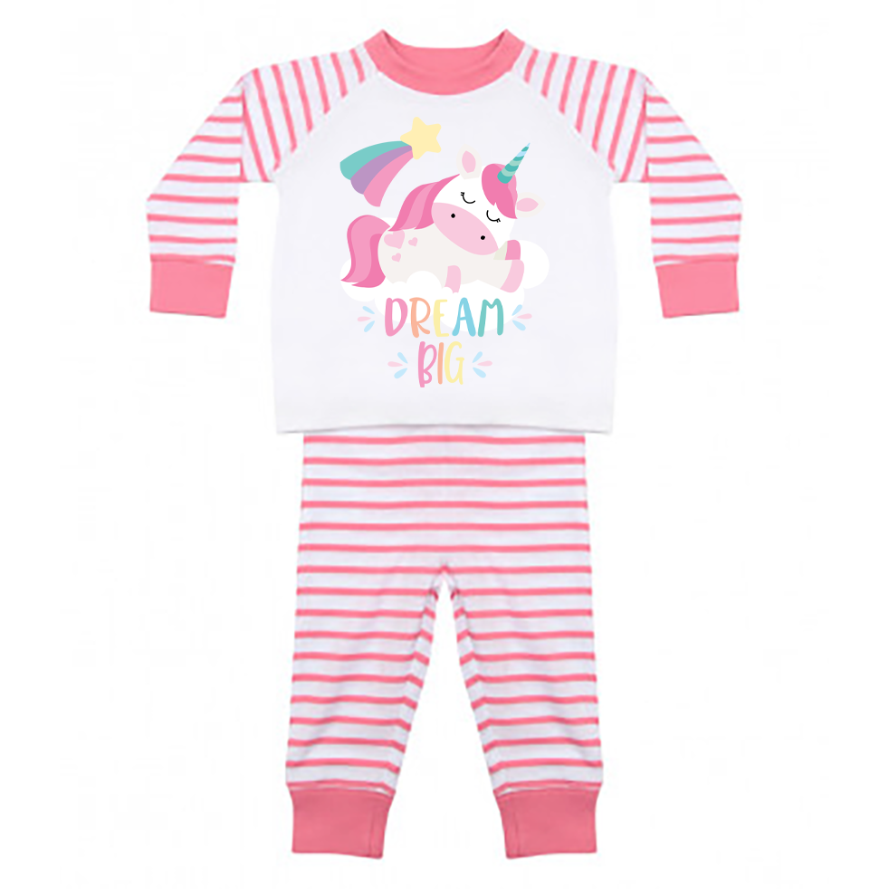 Dream Big Unicorn Stripy Candy Pink Pjs