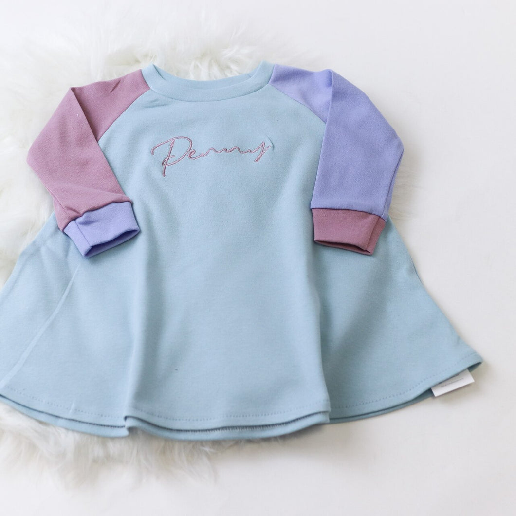 Duck Egg, Cornflower & Dusky Pink Mix & Match Lounge Long Sleeve Raglan Dress (Made to Order)