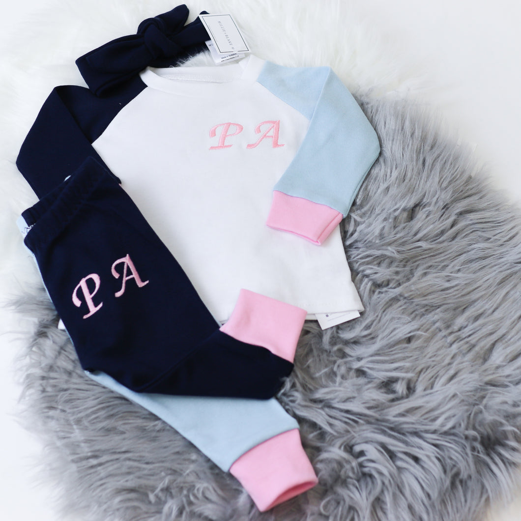 White, Duck Egg, Navy & Baby Pink Mix & Match Full Lounge Set (Made to Order)