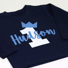 Load image into Gallery viewer, Crown Birthday Number Name Boy Personalised Long Sleeve T-Shirt