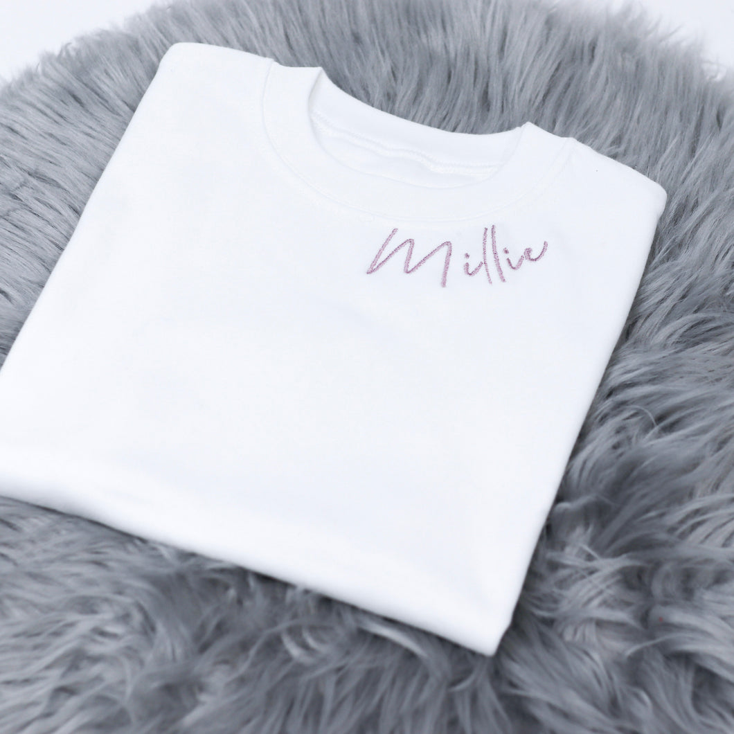 Embroidered Curve Name T-Shirt