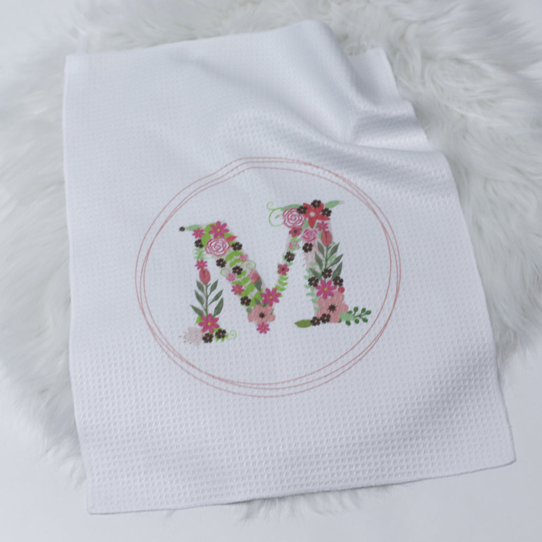 Initial Pink Floral Small Tea Towel
