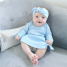 Load image into Gallery viewer, Baby Blue Ribbed Lounge Long Sleeve Raglan Dress (Made to Order)