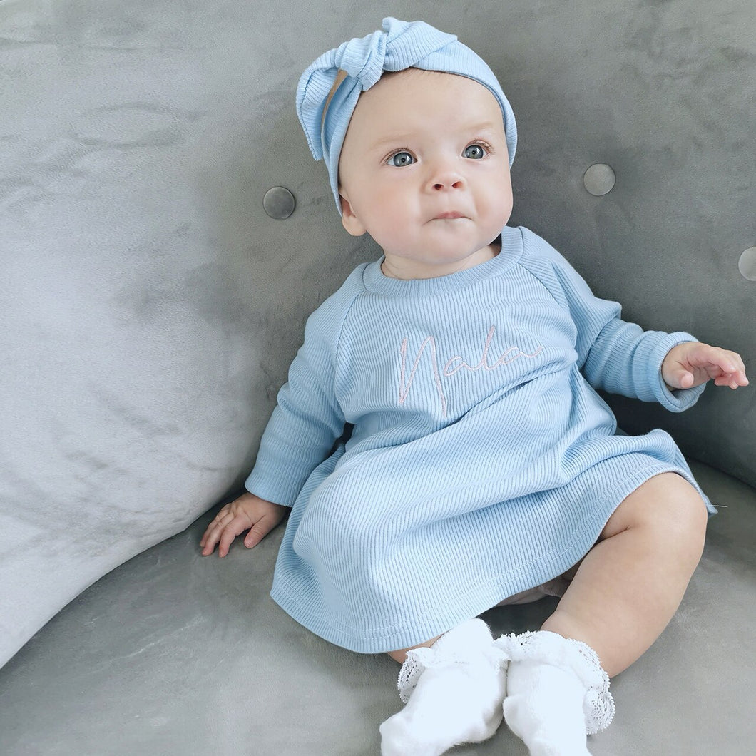 Baby Blue Ribbed Lounge Long Sleeve Raglan Dress (Made to Order)