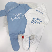 Load image into Gallery viewer, Baby Name Star Personalised Rompersuit & Hat Set