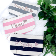 Load image into Gallery viewer, Love Heart Name Nautical Stripe Accessory Bag