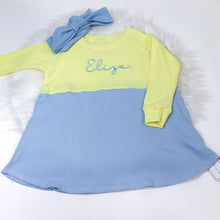 Load image into Gallery viewer, Lemon & Baby Blue Ribbed Lounge Long Sleeve Raglan Dress (Made to Order)