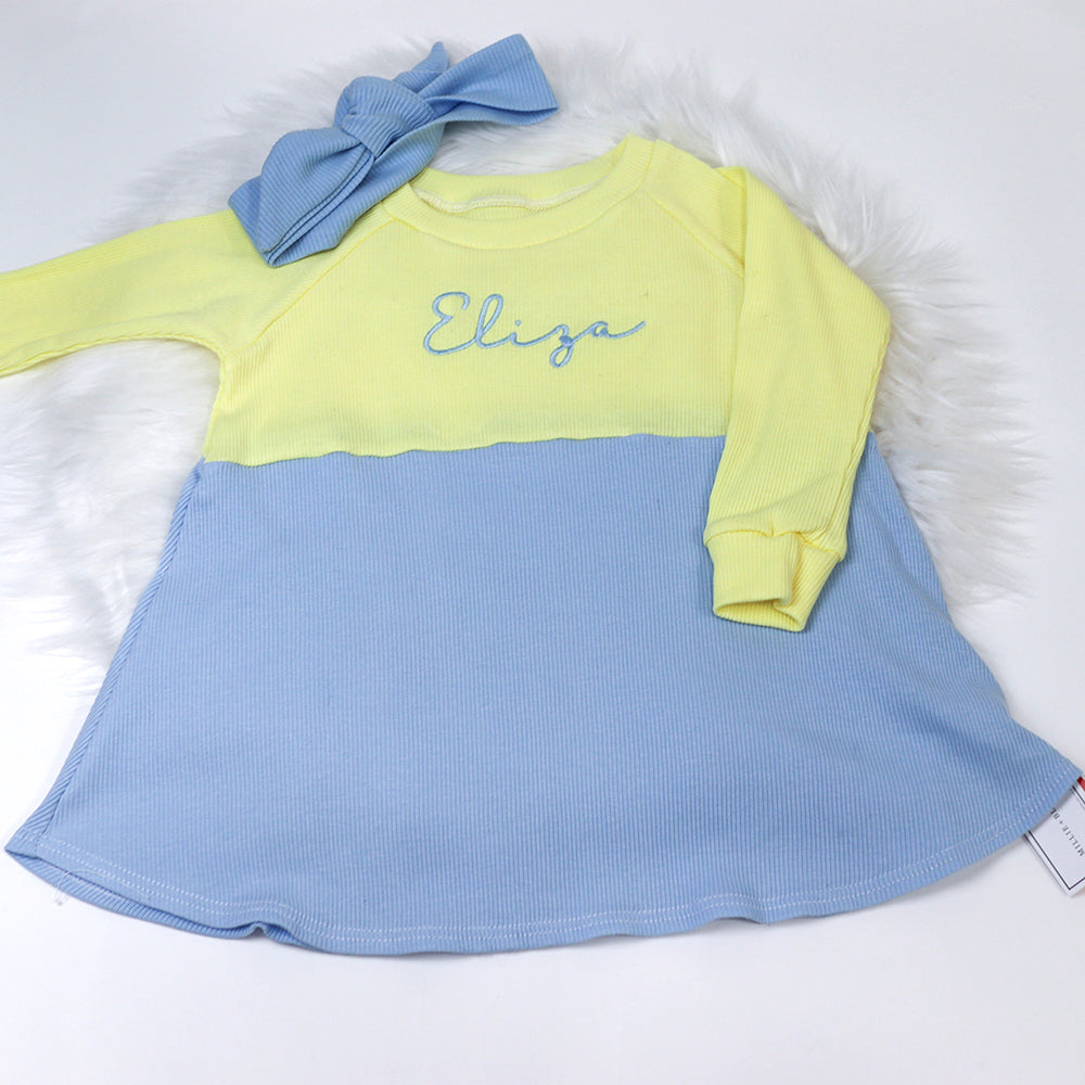 Lemon & Baby Blue Ribbed Lounge Long Sleeve Raglan Dress (Made to Order)