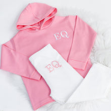 Load image into Gallery viewer, Light Pink & White Embroidered Initials Hooded Top Set