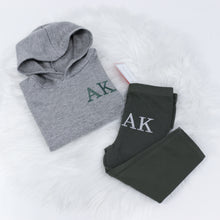 Load image into Gallery viewer, Grey & Khaki Embroidered Initials Hooded Top Set