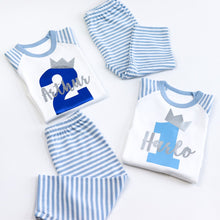 Load image into Gallery viewer, Boys Crown Birthday Number Name Personalised Light Blue Stripe Raglan Pj's
