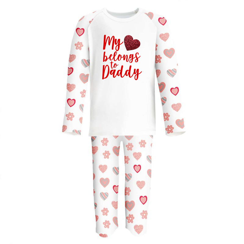 My Heart Belongs to Daddy/Mummy Limited Edition Hearts Personalised Raglan Pjs