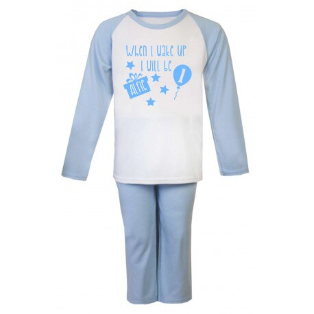 When I wake up I will be 'Age' with Stars Light Blue Raglan Pj's