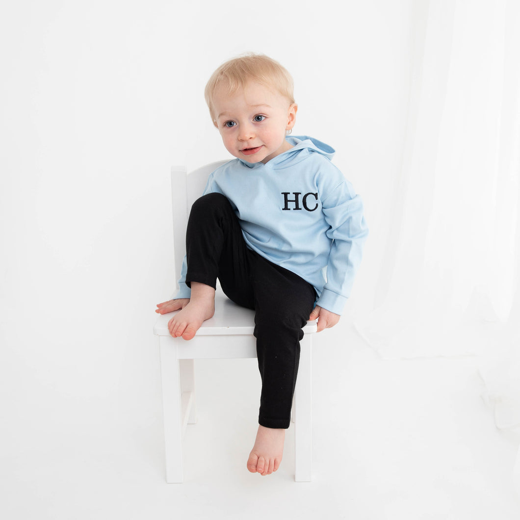 Light Blue & Black Embroidered Initials Hooded Top Set