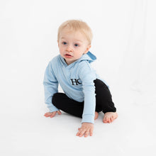 Load image into Gallery viewer, Light Blue & Black Embroidered Initials Hooded Top Set