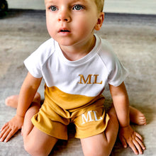 Load image into Gallery viewer, White & Mustard Split Shorts Lounge Set (Made to Order)