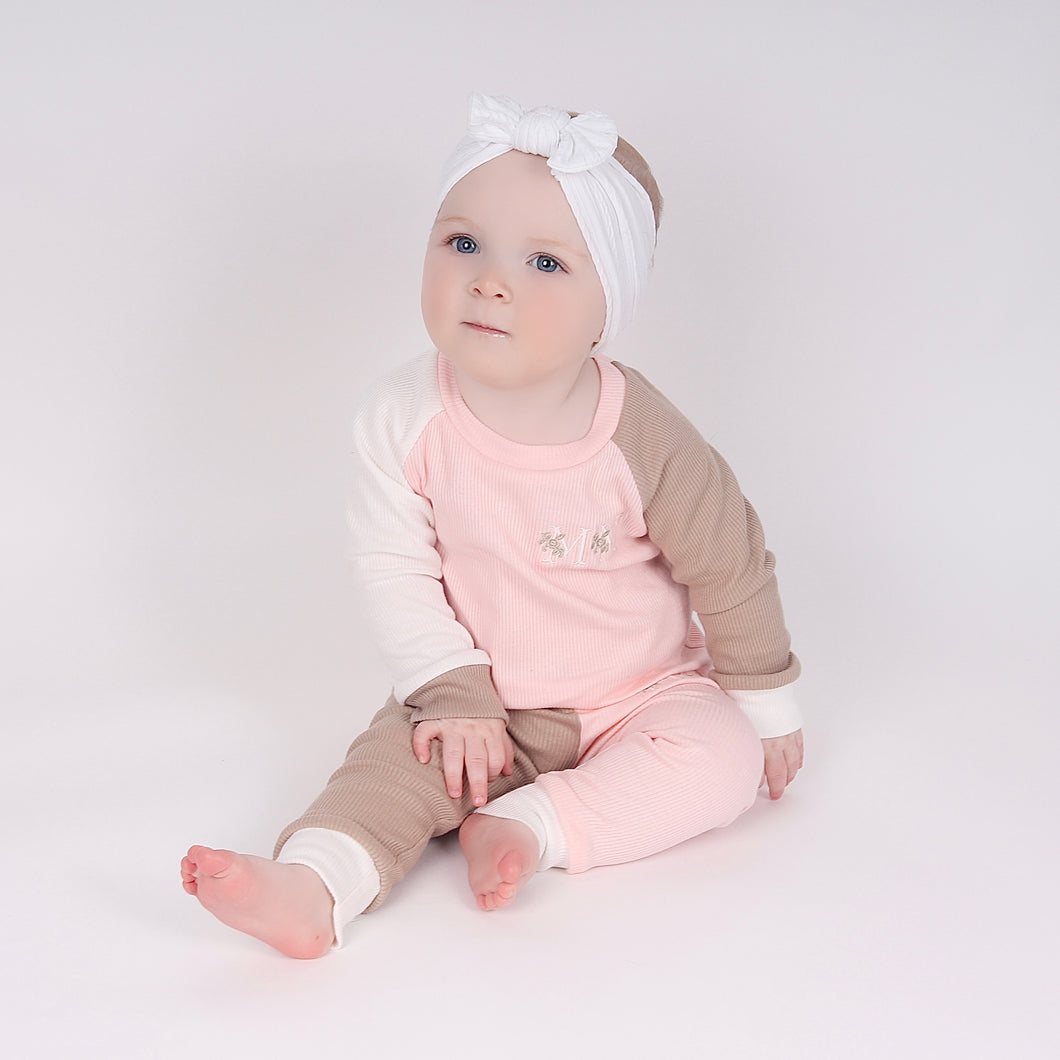 Pinky Peach, Stone & Cream Ribbed Lounge Set - EXPRESS
