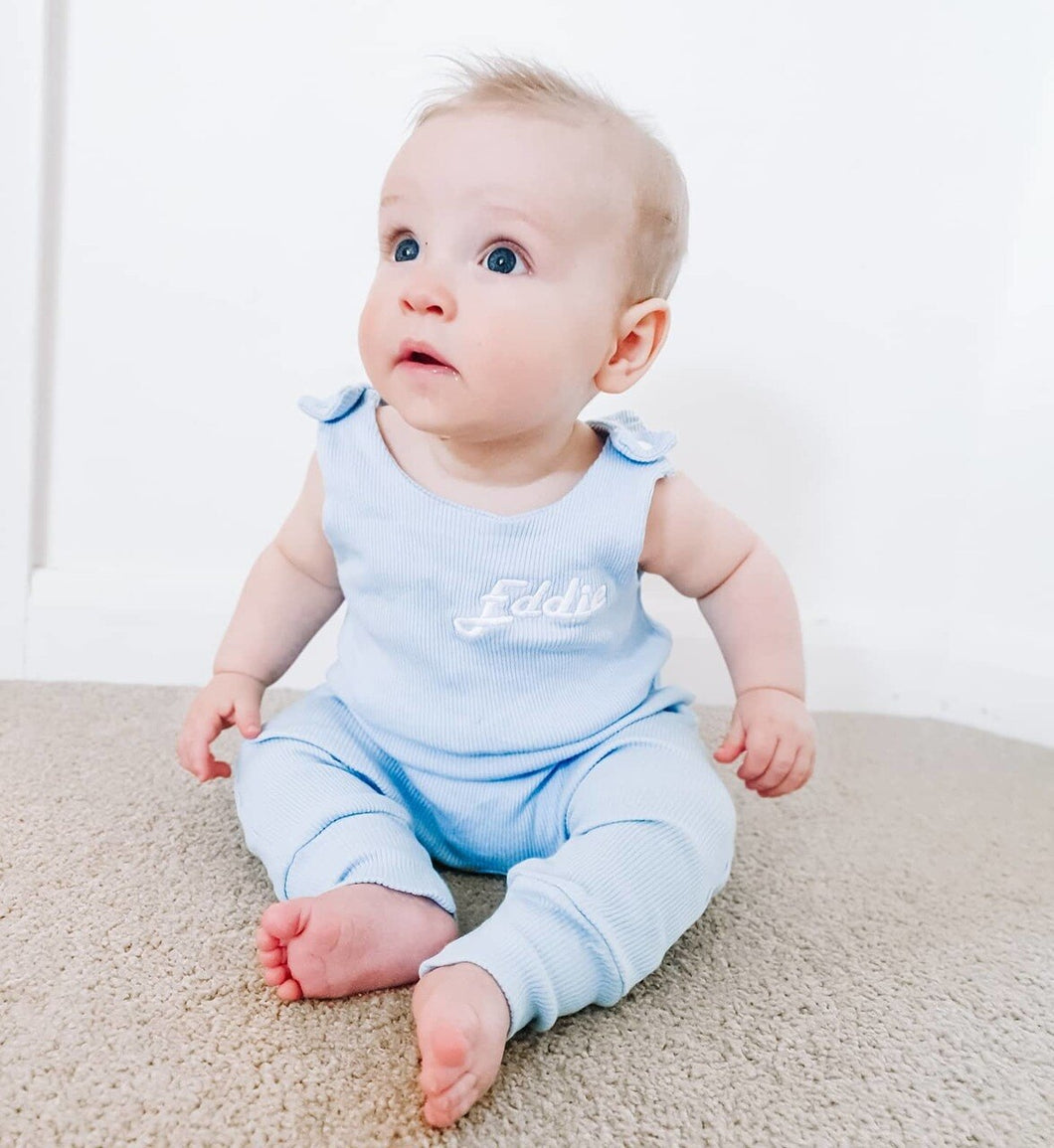 Baby Blue Ribbed Lounge Romper (Made to order)