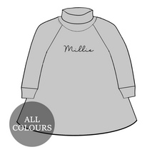 Load image into Gallery viewer, CYO Lounge Roll Neck Long Sleeve Raglan Dress