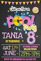 Pool Party Girl Invitation