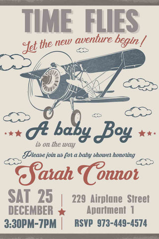 Airplane Baby Shower Invitation