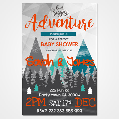 Adventure Baby Shower Invitation
