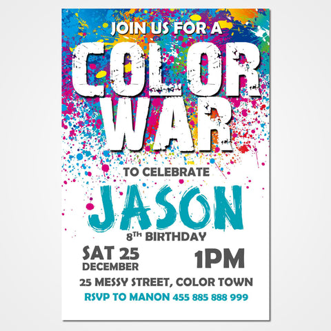 Color War Party Invitation