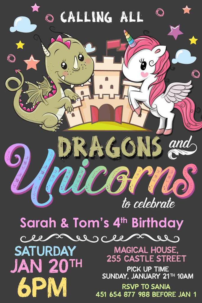 Dragons and Unicorns Birthday Invitation
