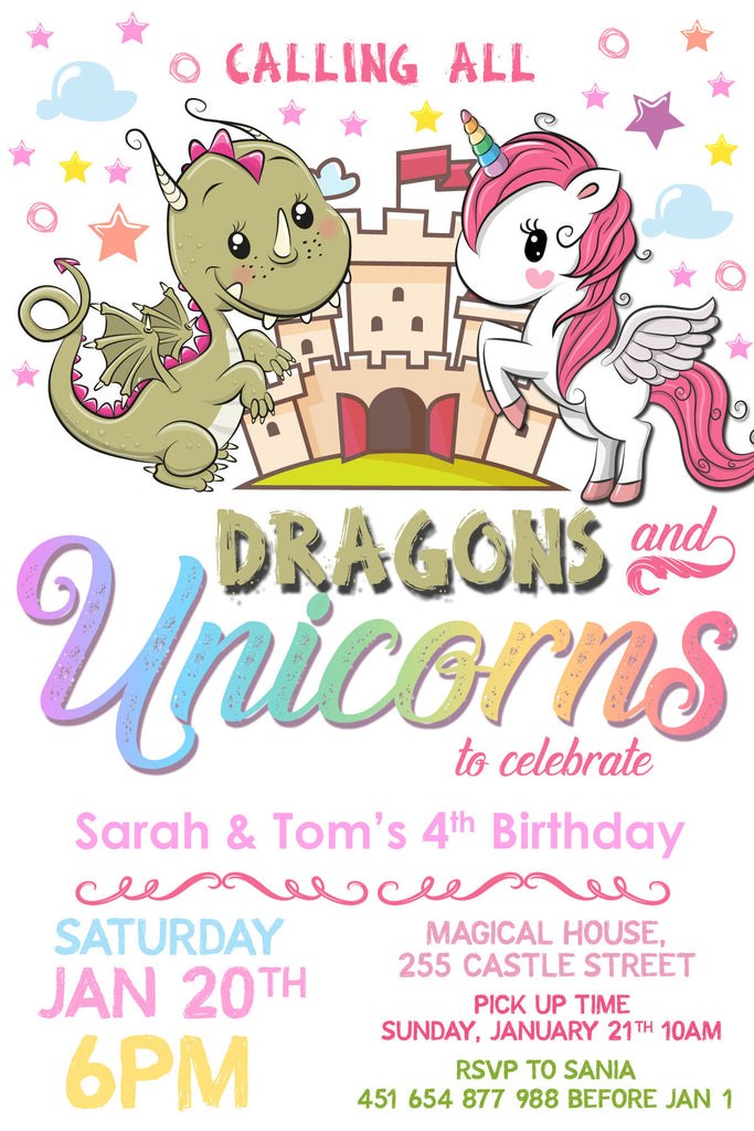 Dragons and Unicorn Birthday Party