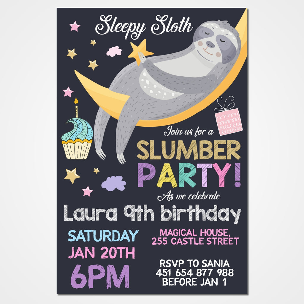 Sloth Slumber Party Invitation