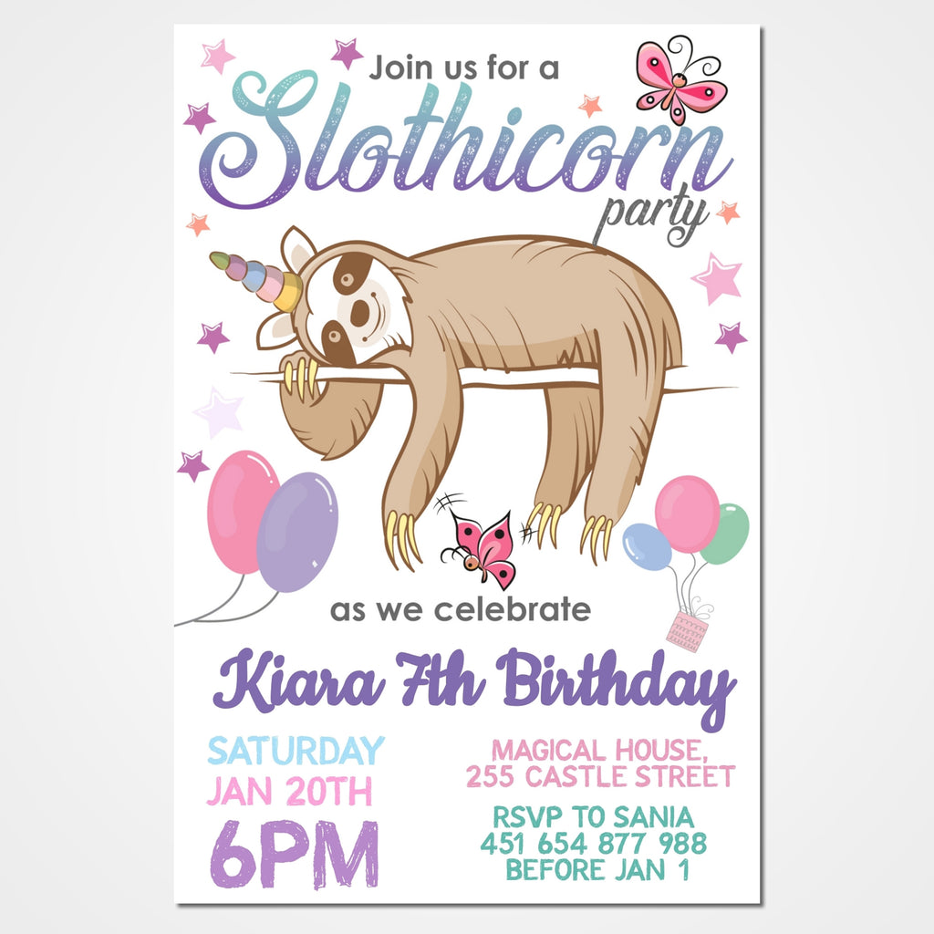 Slothicorn Party Invitation