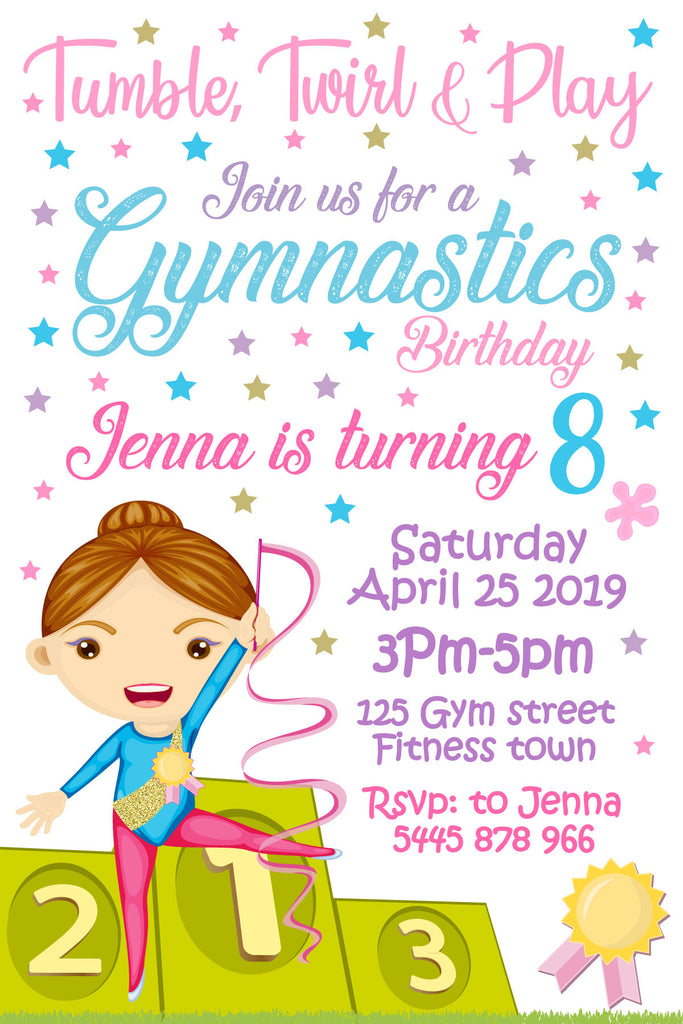 Gymnastic Birthday Invitation