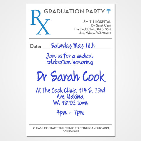 Doctor Graduation Party Invitation