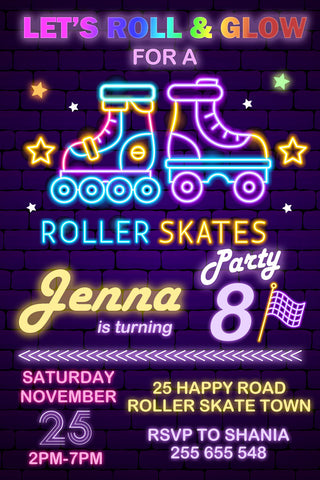 Roller Skate Party Invitation