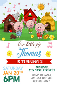 Three Little Pigs Party Invitation