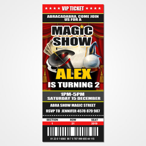 Magic Show Ticket Invitation