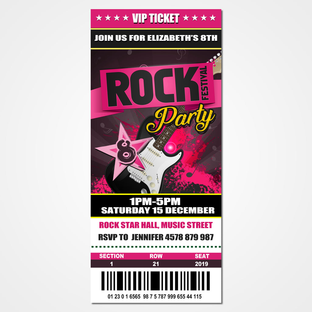 Rock Star Party Ticket Invitation