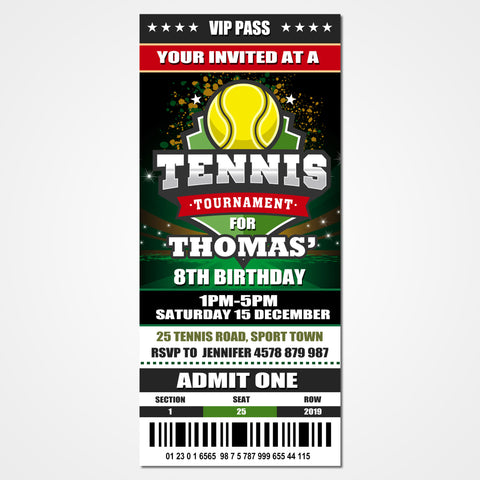 Tennis Ticket Invitation